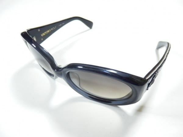 ヴィクター&ロルフ サングラス美品  71-0059 ダークブラウン×黒 型押し加工