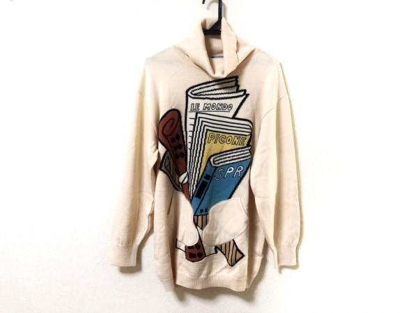 PICONE(ピッコーネ) 長袖セーター サイズ38 S レディース アイボリー×黒×マルチ
