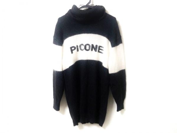 PICONE(ピッコーネ) 長袖セーター サイズ38 S レディース 黒×白 タートルネック