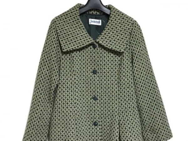 ホコモモラ コート サイズ40 XL レディース美品  グリーン×ブルー×マルチ 冬物