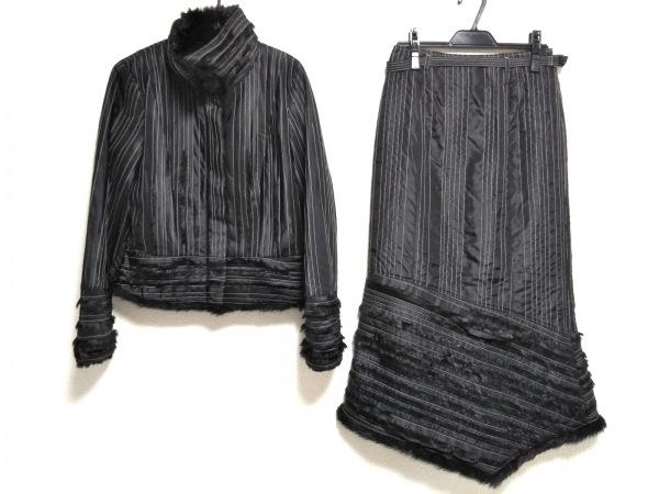 リツコシラハマ スカートスーツ サイズ1 S レディース美品  黒×白 フェイクファー