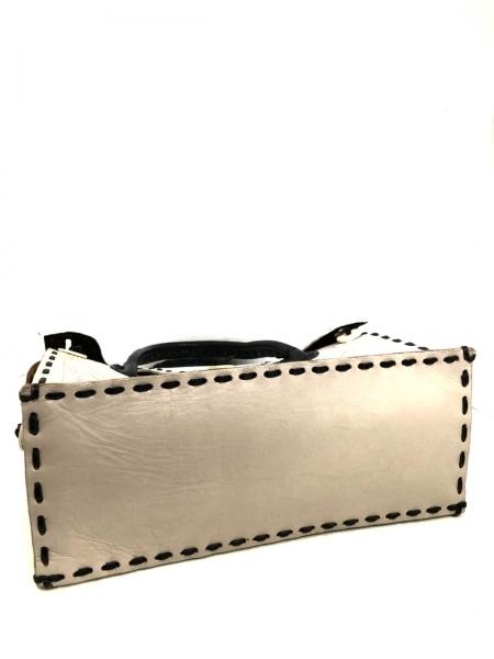 カービングトライブス ハンドバッグ ベージュ×白×ダークネイビー レザー