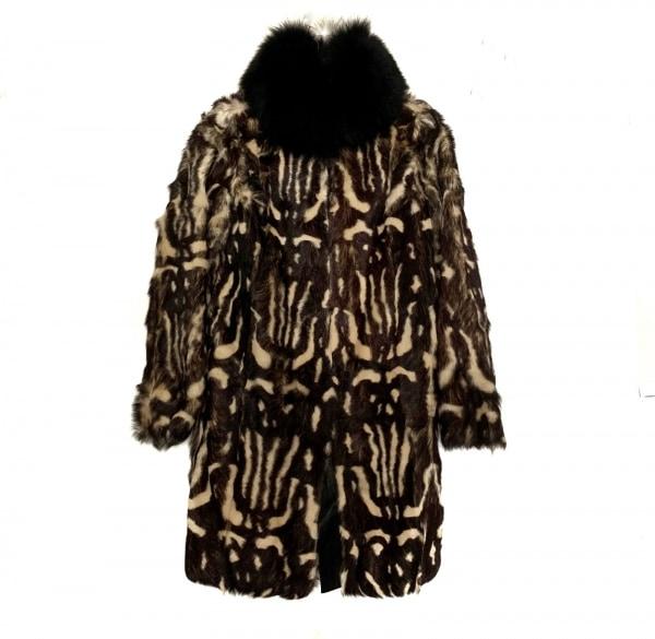 ラルトラモーダ コート サイズ4 XL レディース 黒×ベージュ×ダークブラウン