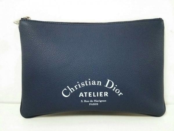 Dior HOMME(ディオールオム) クラッチバッグ美品  2ATCA036XXX-16EU ネイビー レザー