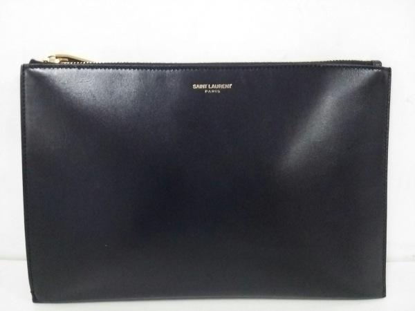 SAINT LAURENT PARIS(サンローランパリ) クラッチバッグ美品  375950 黒 レザー