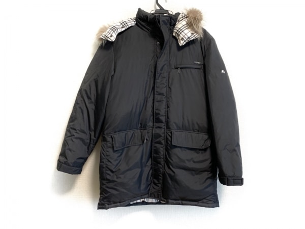 バーバリーブラックレーベル ダウンコート サイズL メンズ 黒 ファー/冬物