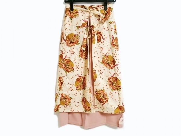PINK HOUSE(ピンクハウス) スカート レディース美品  ベージュ×レッド×マルチ