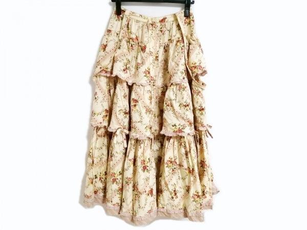 ピンクハウス スカート レディース美品  アイボリー×レッド×マルチ 花柄