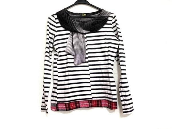 ポールスミスプラス 長袖Tシャツ サイズM レディース美品  白×黒×マルチ