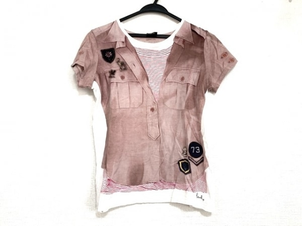 ポールスミスプラス 半袖Tシャツ サイズM レディース美品  ブラウン×白×マルチ