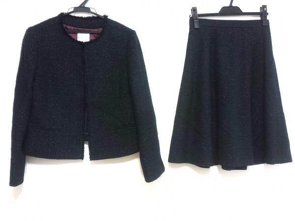 組曲 KUMIKYOKU(クミキョク) スカートスーツ サイズ2 M レディース 黒 ラメ