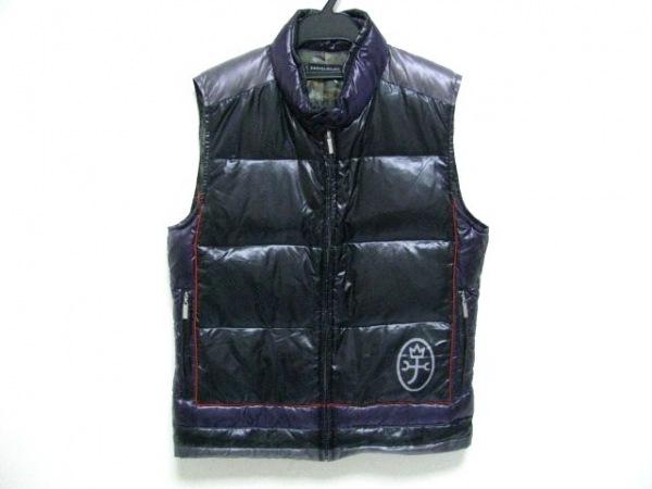 カステルバジャック ダウンベスト サイズ46 XL レディース美品  黒×パープル 冬物