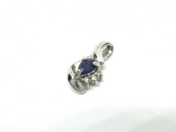 ノーブランド ペンダントトップ K18WG×ダイヤモンド×カラーストーン クリア×ブルー