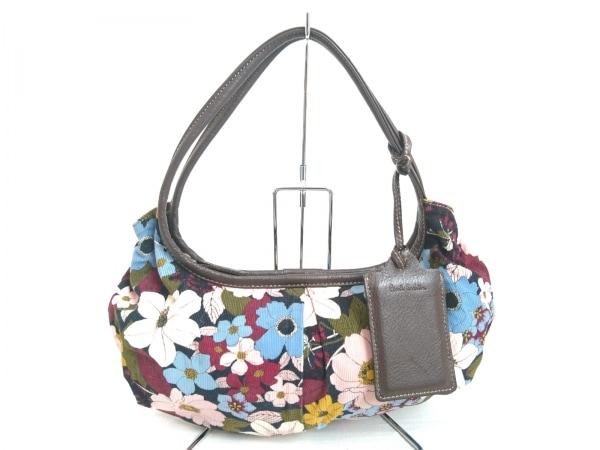 ポールスミス ハンドバッグ ピンク×ブルー×マルチ 花柄 キャンバス×レザー