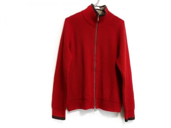 ゼニア 長袖セーター サイズ4 XL レディース レッド×ダークブラウン ジップアップ