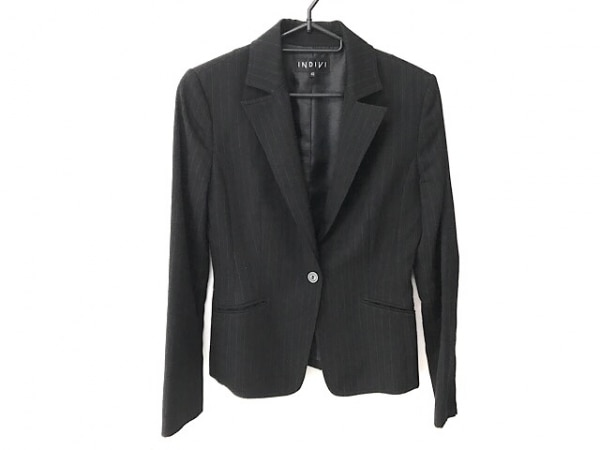 インディビ ジャケット サイズ40 M レディース 黒×ライトグレー 肩パッド/ストライプ