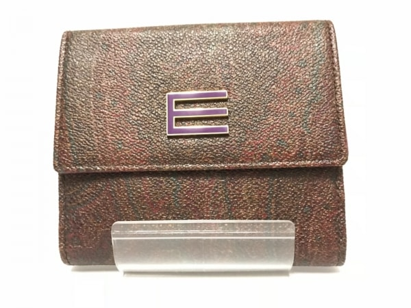 ETRO(エトロ) Wホック財布 ボルドー×ダークグリーン×マルチ ペイズリー柄
