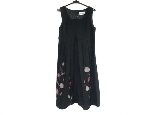 ホコモモラ ワンピース サイズ40 XL レディース 黒×レッド×グリーン 刺繍/花柄