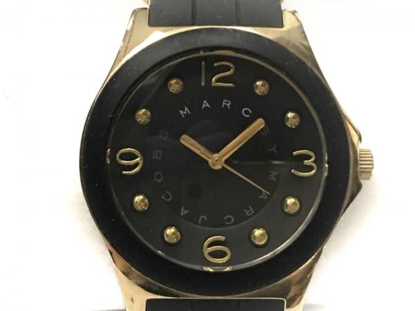マークジェイコブス 腕時計 MBM2540 レディース ラバーベルト 黒×ゴールド