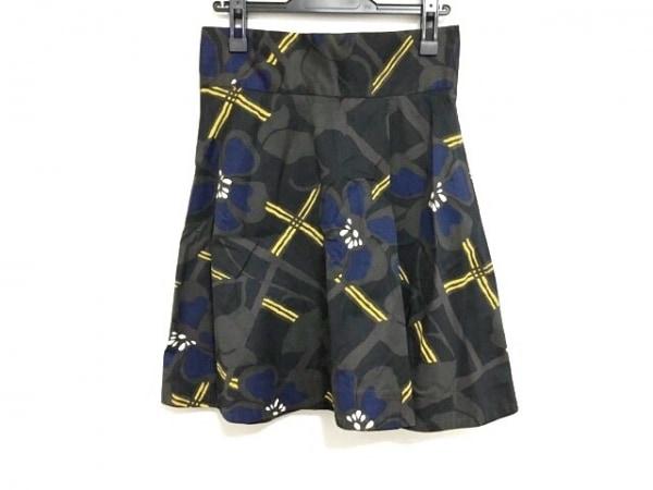 MARNI(マルニ) スカート サイズ42 M レディース 黒×イエロー×マルチ 花柄