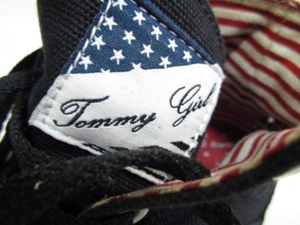 トミーガール スニーカー US 5230 レディース 黒×レッド×白 キャンバス×ヌバック