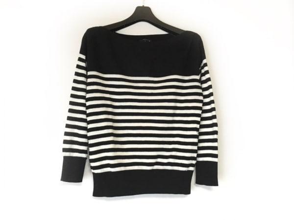 agnes b(アニエスベー) 七分袖セーター サイズ2 M レディース 黒×白 ボーダー