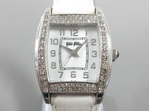 FolliFollie(フォリフォリ) 腕時計 レディース 革ベルト/ラインストーン 白