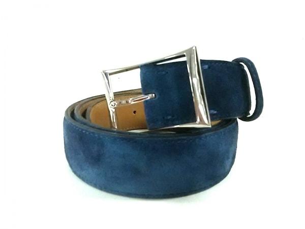 berluti(ベルルッティ) ベルト美品  ブルー スエード×金属素材