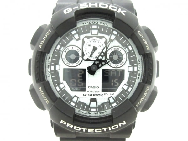 CASIO(カシオ) 腕時計美品  G-SHOCK GA-100BW-1AJF メンズ 白×黒