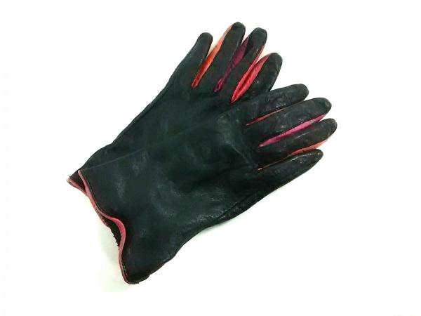 Kate spade(ケイトスペード) 手袋 6.5 レディース 黒×マルチ レザー