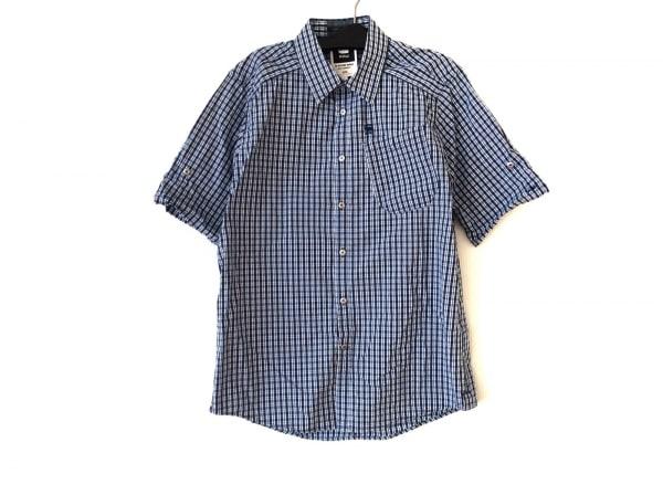 ジースターロゥ 半袖シャツ サイズL メンズ ネイビー×ブルー×マルチ チェック柄