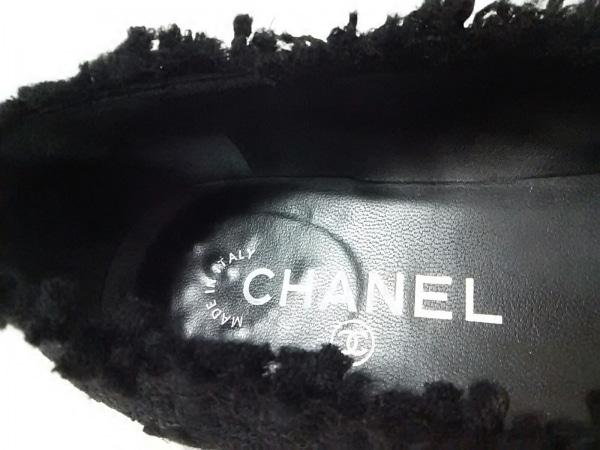 シャネル フラットシューズ 35 1/2 C レディース美品  G27192 黒 ツイード×レザー