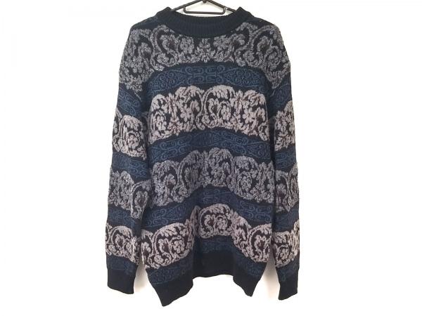 LANVIN(ランバン) 長袖セーター メンズ美品  黒×ダークグレー×ダークネイビー