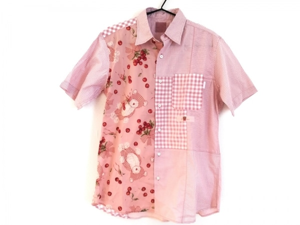 カールヘルム 半袖シャツブラウス サイズM レディース美品  ピンク×レッド×グリーン