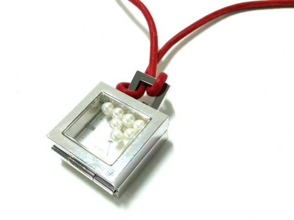 mikimoto(ミキモト) ネックレス美品  金属素材×レザー×パール シルバー×レッド×白