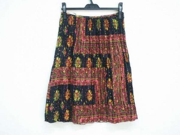 ゴルチエ スカート サイズ40 M レディース美品  黒×マルチ プリーツ/花柄
