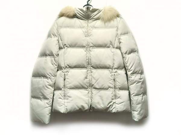 クミキョク ダウンジャケット サイズ2 M レディース美品  白 ファー/冬物