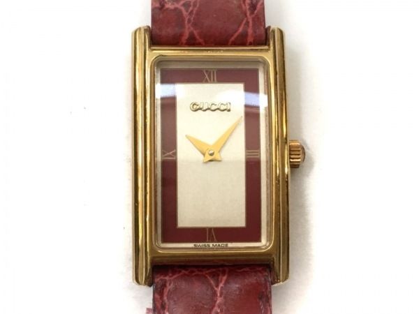 GUCCI(グッチ) 腕時計 2600L レディース 革ベルト アイボリー×ボルドー