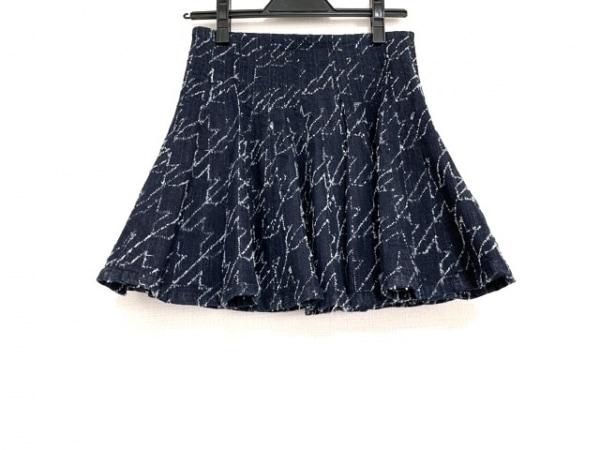 ジャストカヴァリ ミニスカート サイズ25 XS レディース美品  ネイビー×白 デニム