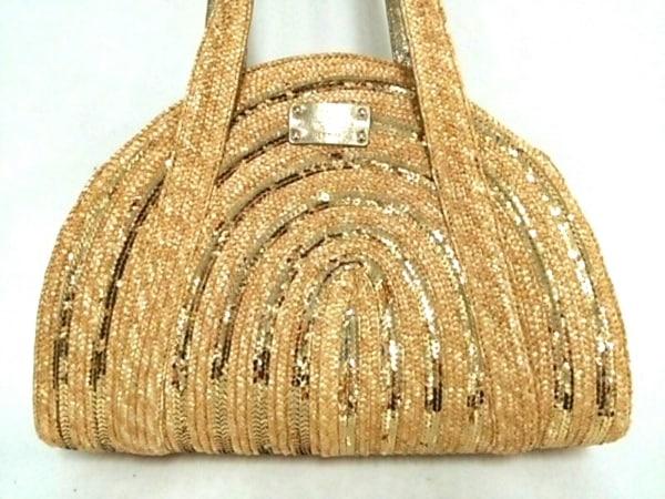 ケイトスペード トートバッグ美品  PXRU2431 ベージュ×ゴールド かごバッグ