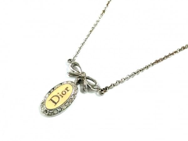 ChristianDior(クリスチャンディオール) ネックレス 金属素材×ラインストーン リボン