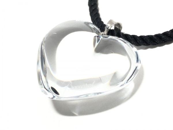 バカラ ネックレス美品  クリスタルガラス×化学繊維×シルバー クリア×黒 ハート