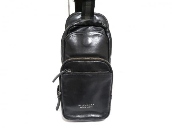 バーバリーブラックレーベル ワンショルダーバッグ 黒×ダークグレー