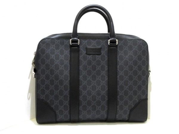 GUCCI(グッチ) ビジネスバッグ美品  GGスプリーム 474135 黒×グレー