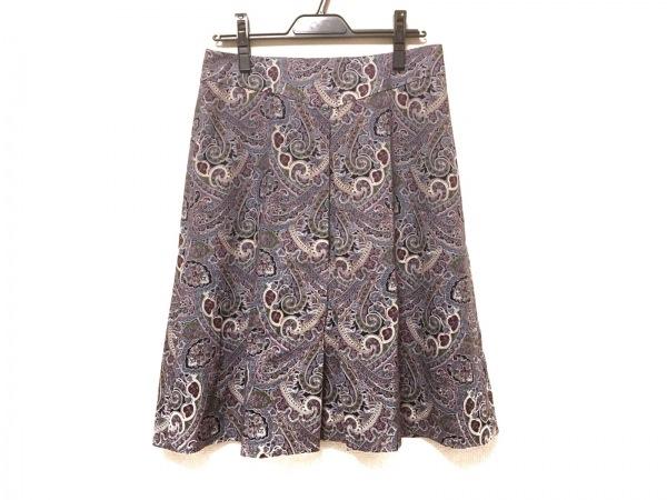 スキャパ スカート サイズ40 XL レディース美品  ライトブルー×アイボリー×マルチ