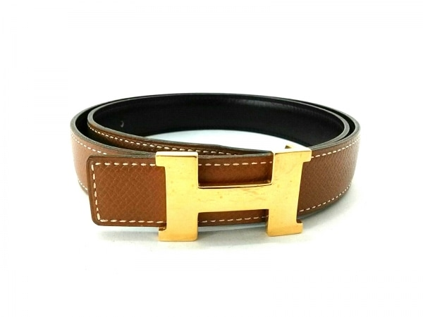 HERMES(エルメス) ベルト Hベルト ブラウン×ゴールド ゴールド金具/リバーシブル