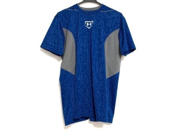 アンダーアーマー 半袖Tシャツ サイズMD メンズ美品  ブルー×グレー メッシュ