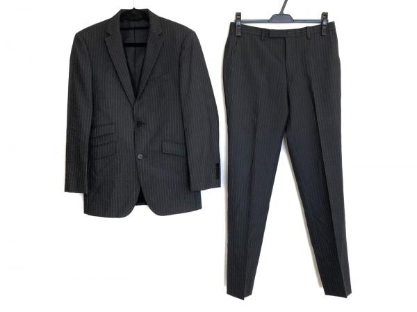 バーバリーブラックレーベル シングルスーツ メンズ美品  ダークグレー ストライプ