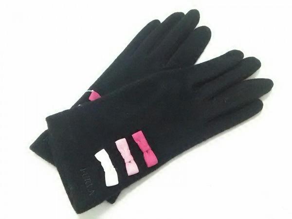 FURLA(フルラ) 手袋 レディース美品  黒 ウール×ナイロン