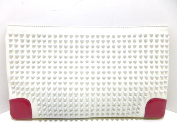 クリスチャンルブタン クラッチバッグ美品  ルビポッシュ 白×レッド スタッズ